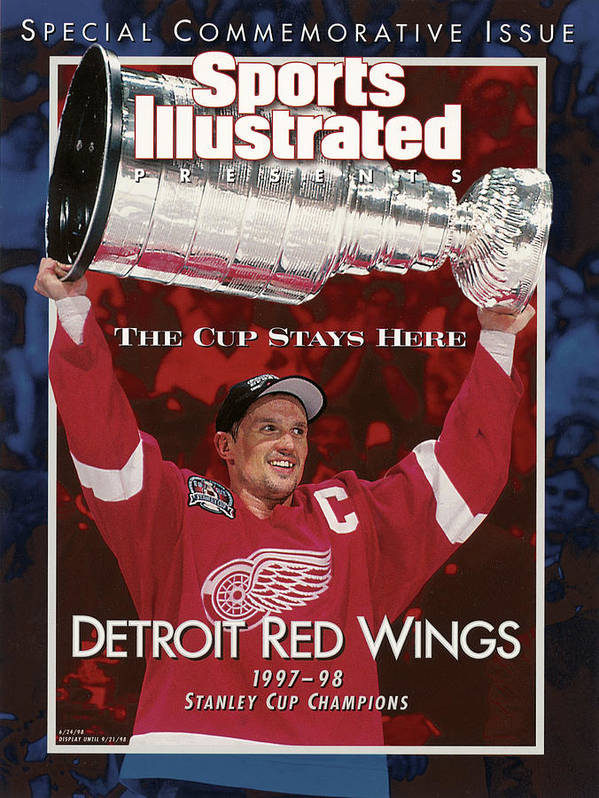 National Hockey League Poster featuring the photograph Detroit Red Wings Steve Yzerman, 1998 Nhl Finals Sports Illustrated Cover by Sports Illustrated