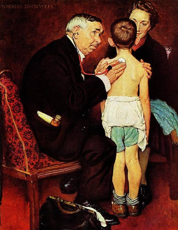 Doctor Poster featuring the drawing Doc Melhorn And The Pearly Gates by Norman Rockwell