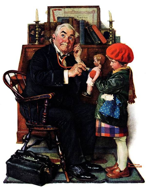Doctors Poster featuring the drawing Doctor And The Doll by Norman Rockwell