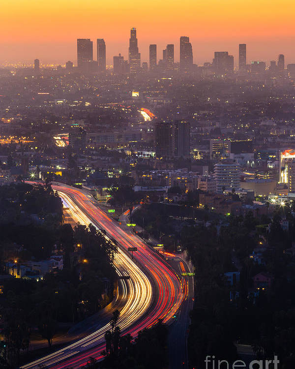 Freeway Poster featuring the photograph Downtown Los Angeles Skyline by F11photo