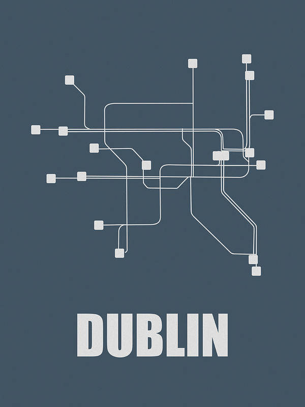 Dublin Poster featuring the digital art Dublin Subway Map by Naxart Studio