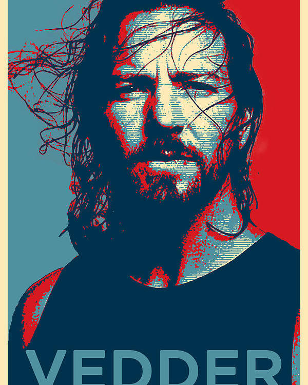 Pearl Jam Poster featuring the digital art Eddie by Robert Barsby