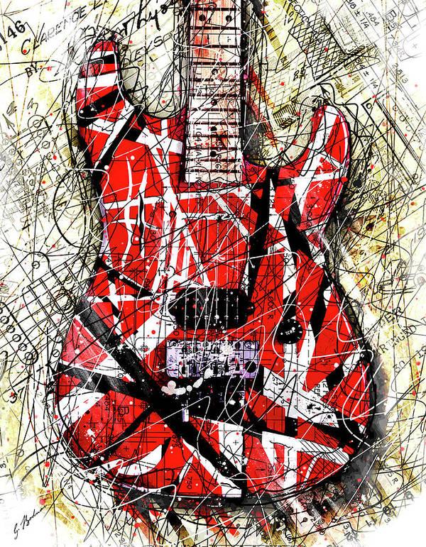 Guitar Art Poster featuring the digital art Eddie's Axe by Gary Bodnar