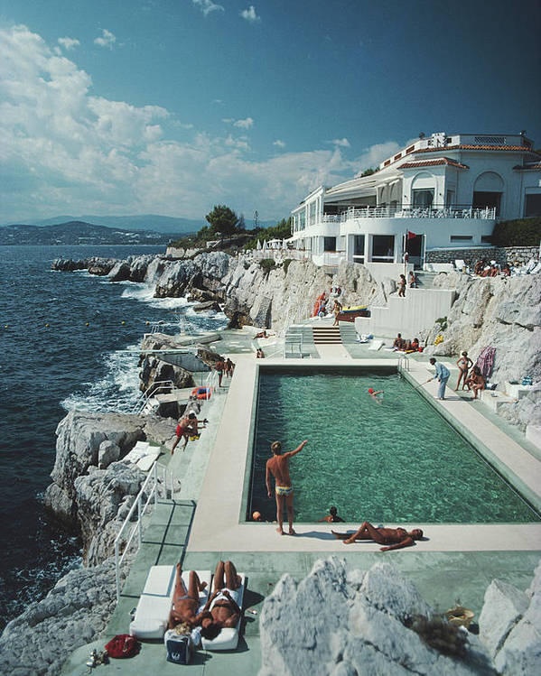 Recreational Pursuit Poster featuring the photograph Eden-roc Pool by Slim Aarons