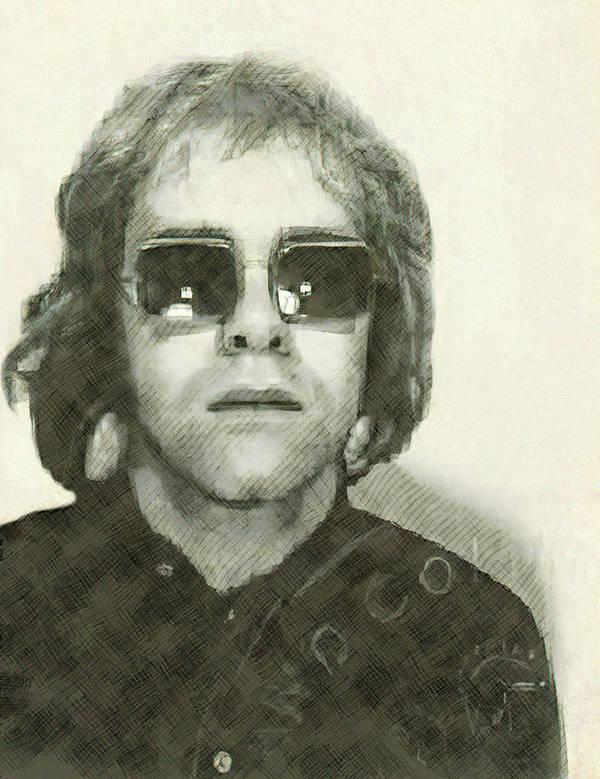 Elton Poster featuring the digital art Elton John Passport Photo 1972 by Daniel Hagerman