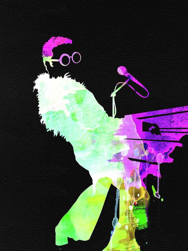Elton John Poster featuring the mixed media Elton Watercolor II by Naxart Studio