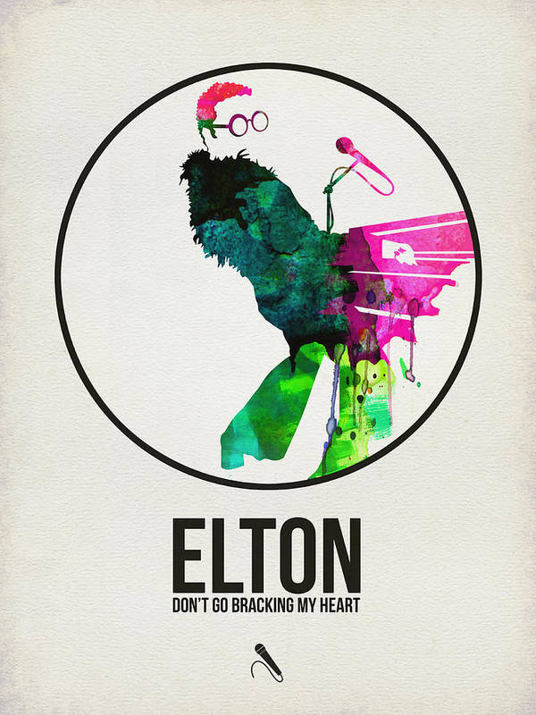 Elton John Poster featuring the digital art Elton Watercolor Poster by Naxart Studio