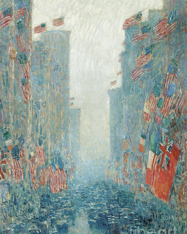 Hassam Poster featuring the painting Flags, Afternoon On The Avenue, 1917 by Childe Hassam