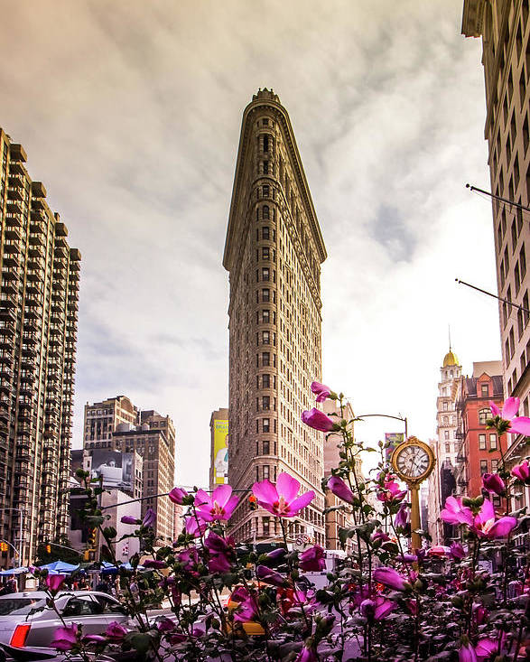 Flatiron Poster featuring the photograph Flatiron And Flowers by Nicklas Gustafsson
