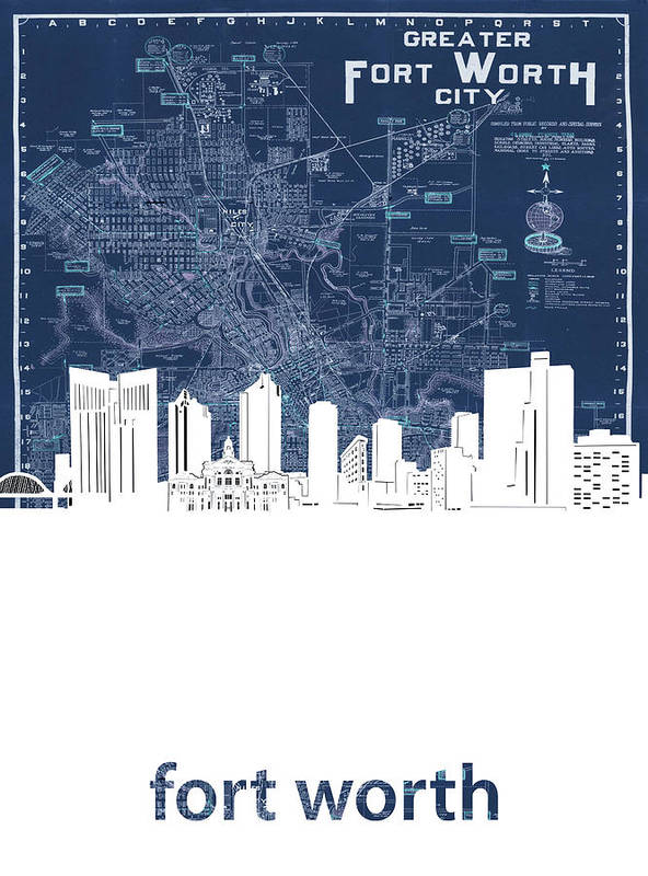 Fort Worth Poster featuring the digital art Fort Worth Skyline Map Blue by Bekim M