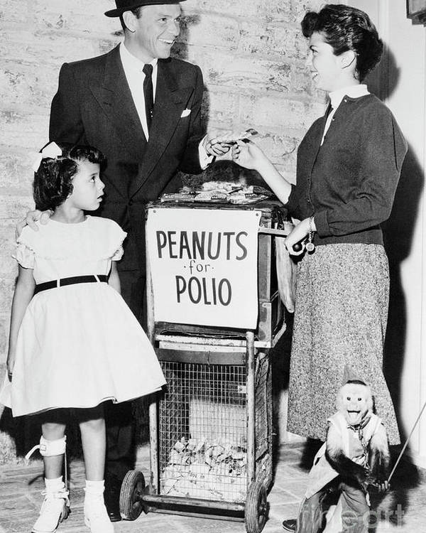 Charity Benefit Poster featuring the photograph Frank Sinatra Buying Peanuts For Polio by Bettmann