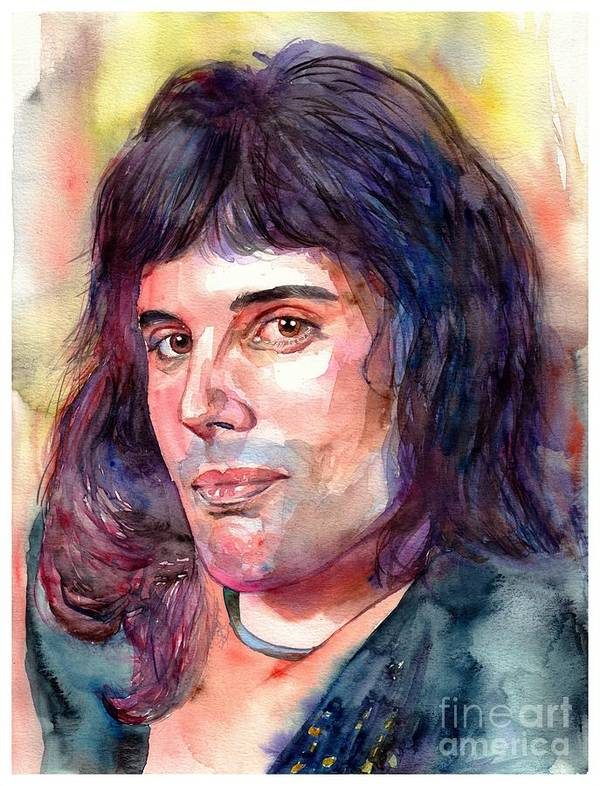 Freddie Mercury Poster featuring the painting Freddie Mercury young by Suzann Sines