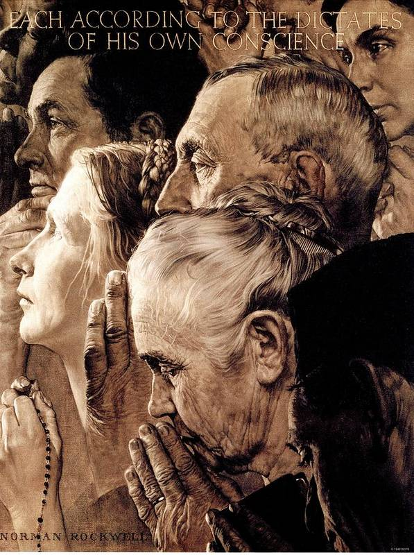 Praying Poster featuring the drawing Freedom Of Worship by Norman Rockwell