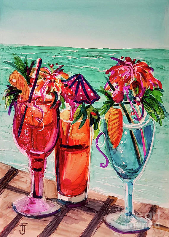 Alcohol Ink Poster featuring the mixed media Gal's Afternoon Out by Francine Dufour Jones
