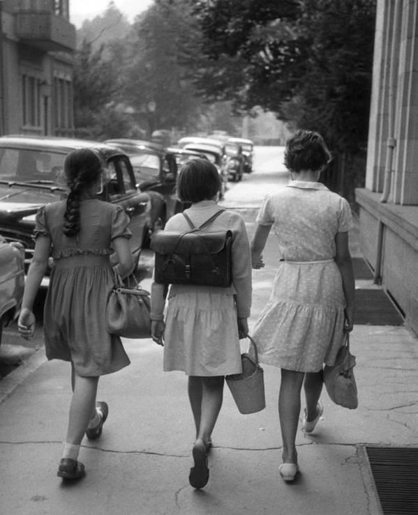 Baden-baden Poster featuring the photograph German Schoolgirls by Erich Auerbach