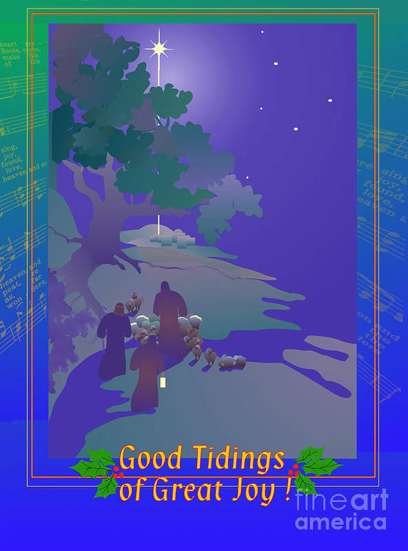 Christmas Card Poster featuring the digital art Good Tidings by Nancy Watson