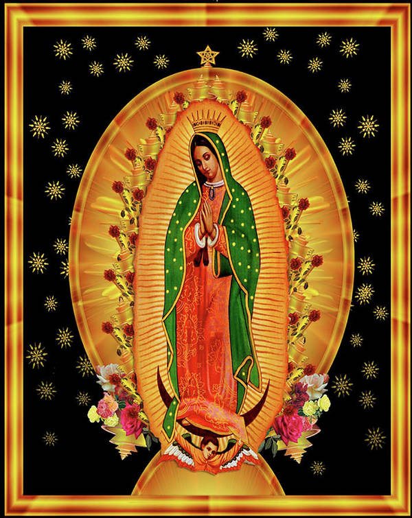 Virgin Guadalupe Mary Poster featuring the painting Guadalupe8 by Marcus Jules