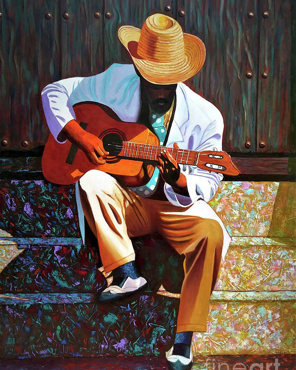 Cuban Poster featuring the painting Guitar player #3 by Jose Manuel Abraham