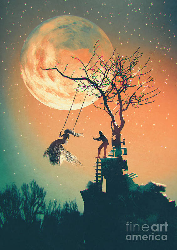 Beauty Poster featuring the digital art Halloween Night Background With Man by Tithi Luadthong