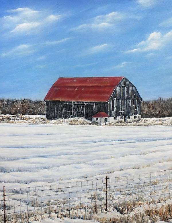 Old Barn Poster featuring the painting Hewson Barn by Lisa Cini