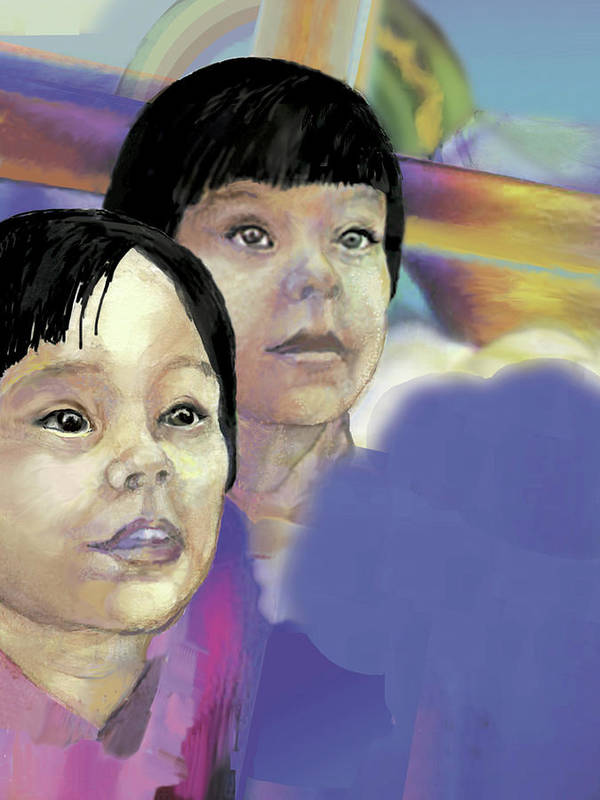 Asian Mother And Child Poster featuring the painting Hope In Troubled Times by Nancy Watson
