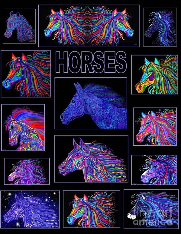 Horses Poster featuring the digital art Horses Poster by Nick Gustafson