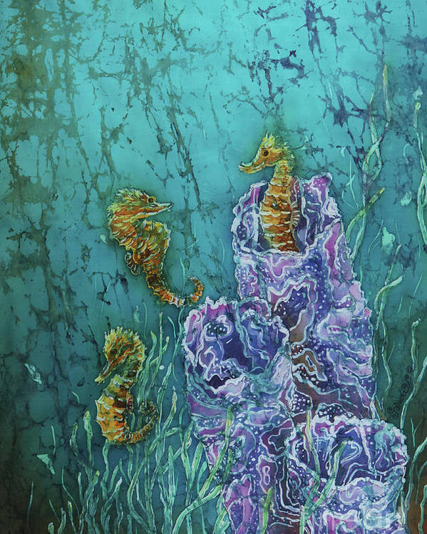 Seahorses Poster featuring the tapestry - textile Horsin Around by Sue Duda