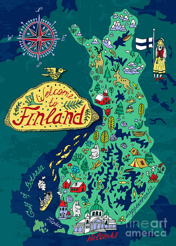 Country Poster featuring the digital art Illustrated Map Of Finland. Travels by Daria i