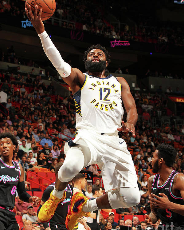 Nba Pro Basketball Poster featuring the photograph Indiana Pacers V Miami Heat by Oscar Baldizon