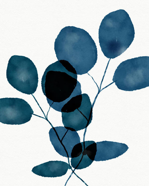 Botanical Poster featuring the mixed media Indigo Eucalyptus 3- Art By Linda Woods by Linda Woods