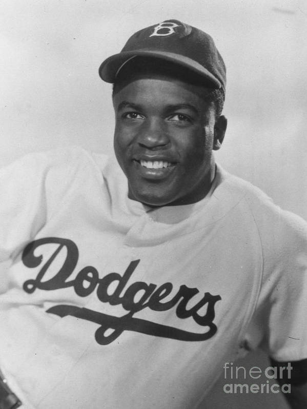 People Poster featuring the photograph Jackie Robinson Happy Portrait 1949 by Transcendental Graphics