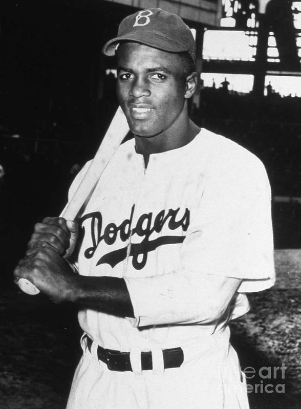 People Poster featuring the photograph Jackie Robinson Rookie Dodgers Portrait by Transcendental Graphics