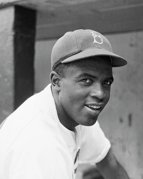 Baseball Cap Poster featuring the photograph Jackie Robinson Smiling by Bettmann