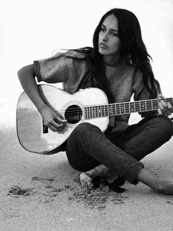 Timeincown Poster featuring the photograph Joan Baez Playing Guitar On The Beach by Ralph Crane