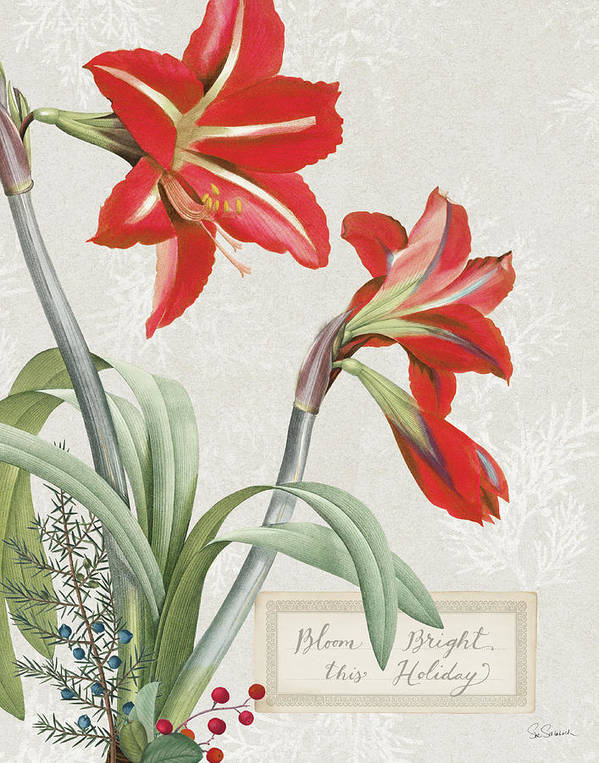 Amaryllis Poster featuring the painting Joyful Tidings I by Sue Schlabach