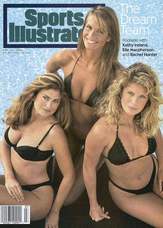 Kathy Ireland, Elle Macpherson, And Rachel Hunter Swimsuit Sports  Illustrated Cover Poster by Sports Illustrated