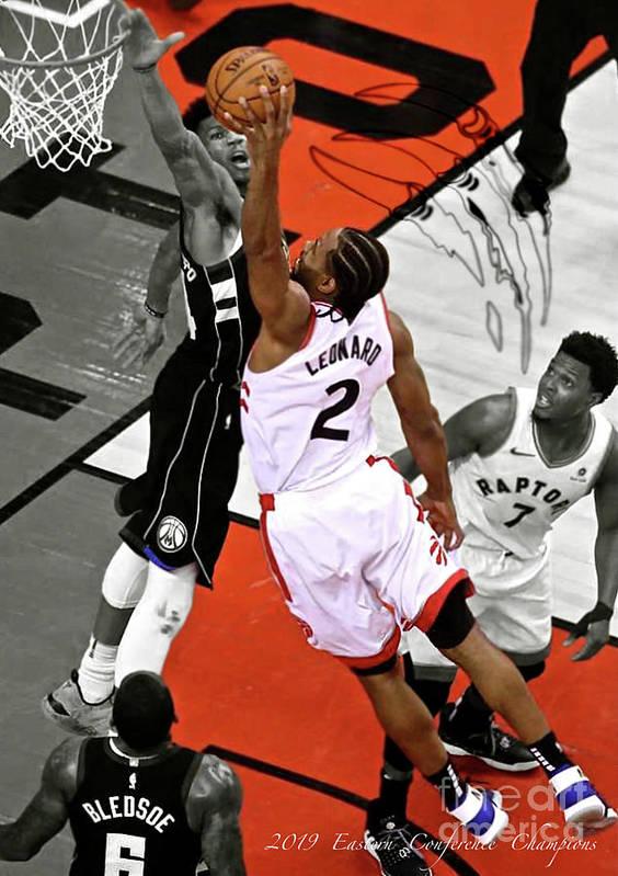 Kawhi Leonard Toronto Raptors Dunking Over Giannis Antetokounmpo Milwaukee Bucks Conference Cham Poster By Thomas Pollart