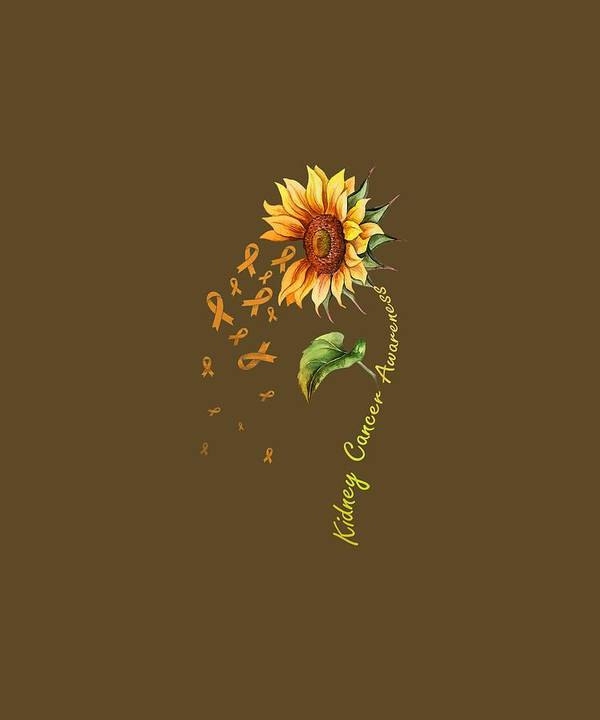 girls' Novelty T-shirts Poster featuring the digital art Kidney Cancer Awareness Sunflower Shirt by Do David