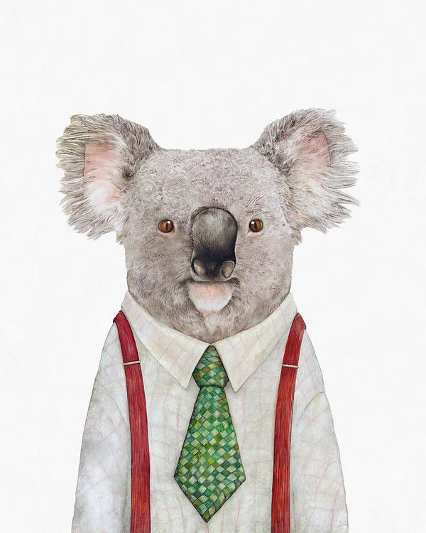 Koala Poster featuring the painting Koala by Animal Crew