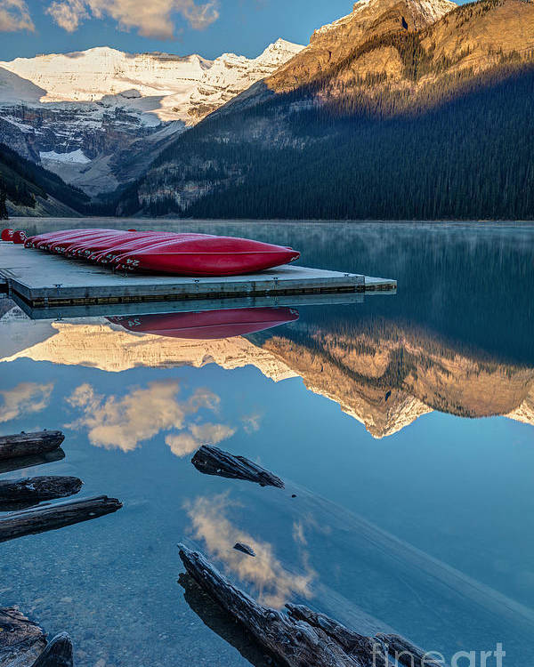 Glaciers Poster featuring the photograph Lake Louise Canoes In Banff National by Pierre Leclerc