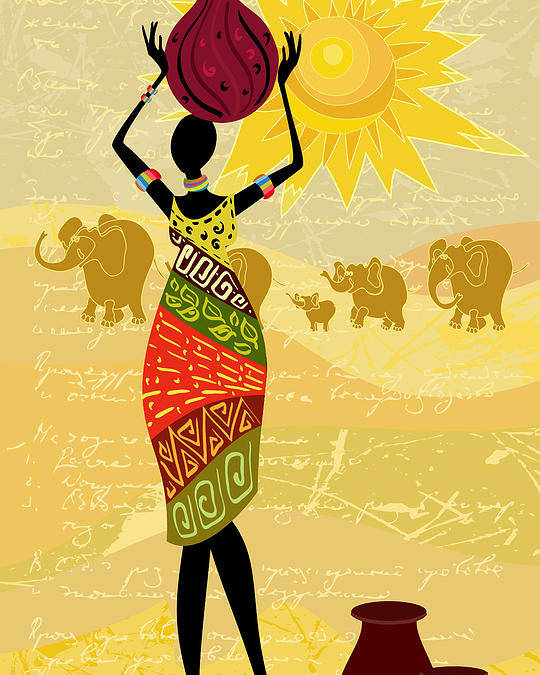 Dress Poster featuring the digital art Landscape With An African Woman by Oksana Alekseeva