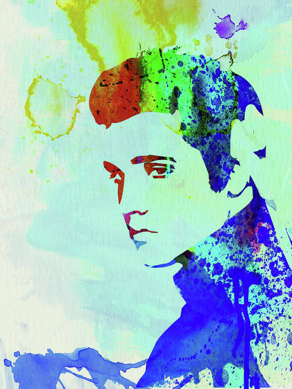 Elvis Presley Poster featuring the mixed media Legendary Elvis Watercolor I by Naxart Studio