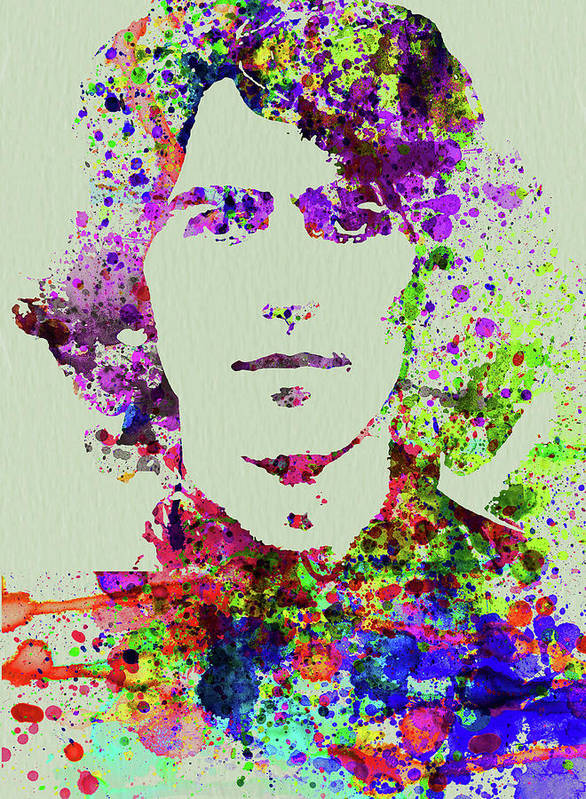 Beatles Poster featuring the mixed media Legendary George Harrison Watercolor II by Naxart Studio