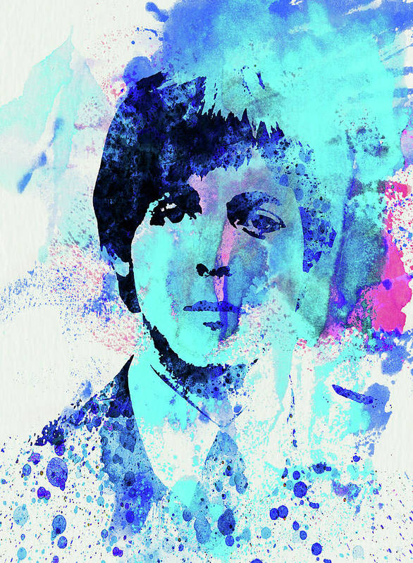 Beatles Poster featuring the mixed media Legendary Paul Watercolor by Naxart Studio