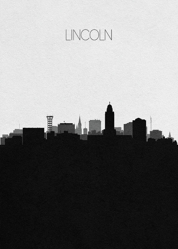 Lincoln Poster featuring the digital art Lincoln Cityscape Art by Inspirowl Design