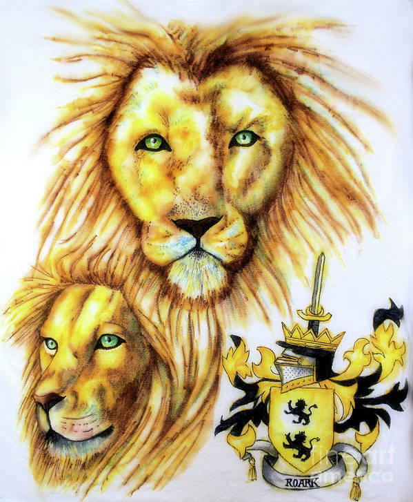 Sharpie Art Poster featuring the drawing Lions Roark Crest by Scarlett Royal