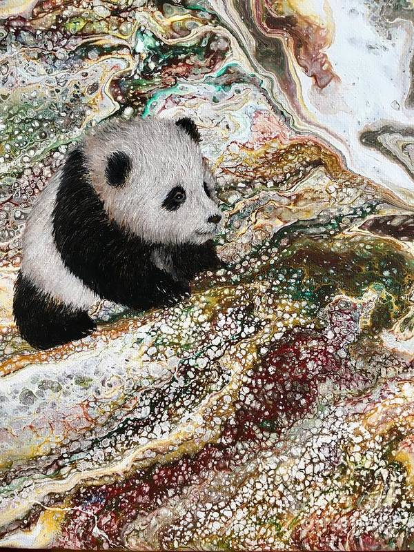 Panda Poster featuring the painting Little Panda2 by Francesca Kee