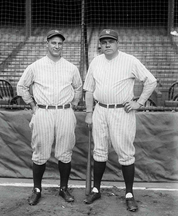 People Poster featuring the photograph Lou Gehrig And Babe Ruth by Bettmann