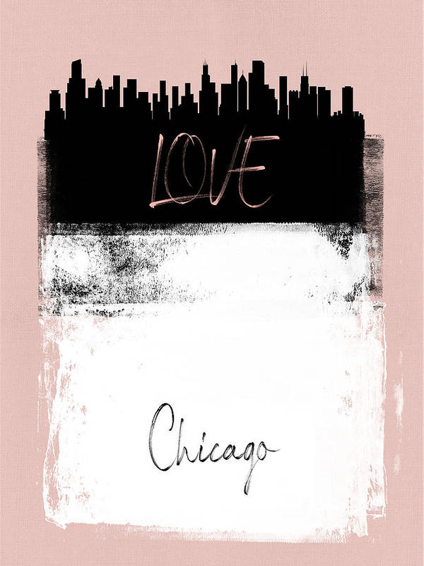 Chicago Poster featuring the mixed media Love Chicago by Naxart Studio