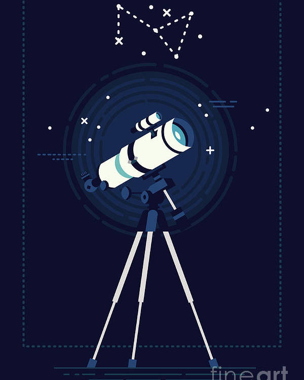 Big Poster featuring the digital art Lovely Vector Background On Astronomy by Mascha Tace